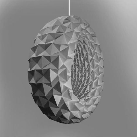 Torus pendant light by Jiangmei Wu. Folded from a single sheet of recycled cotton paper, with a LED strip inside.