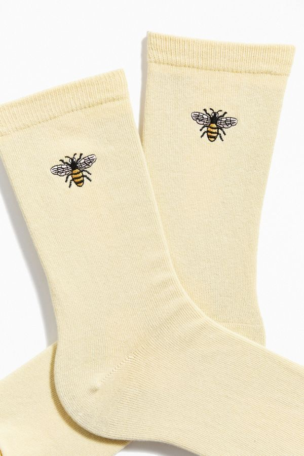 Embroidered Bee Crew Sock