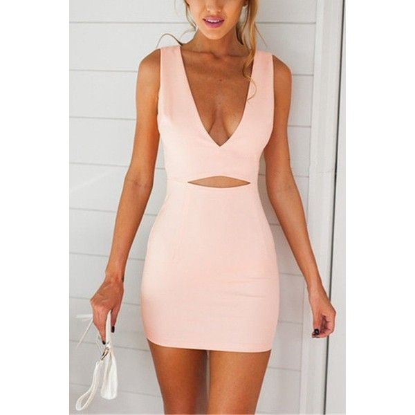 Yoins Pink Plunge Sleeveless Cut Out Mini Dress (1.205 RUB) ❤ liked on Polyvore featuring dresses, robe, pink, bodycon mini dress, v neck dress, cut out dress, pink cocktail dress and mini dress