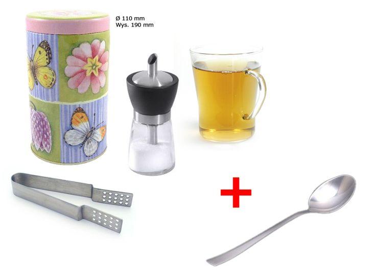 Wiosenna puszka na herbatę; Cukiernica rurkowa z dozownikiem; Szklanka żaroodporna; Szczypce do torebek herbacianych; Łyżeczka do herbaty Luisa Gratis !