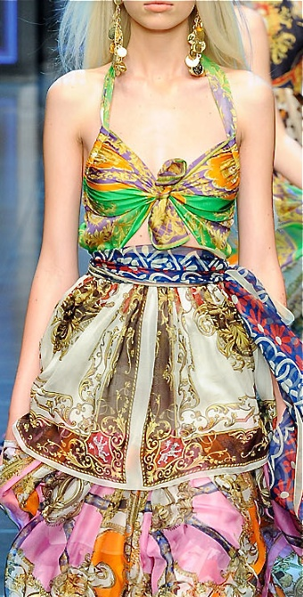 Dolce  Gabbana - gown from scarves!
