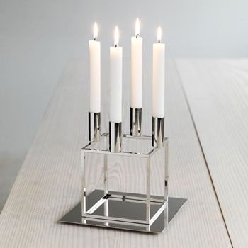 By Lassen Kubus 4 candleholder in nickel-plate steel.