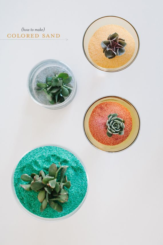 DIY colored sand is a great way to brighten up a terrarium.