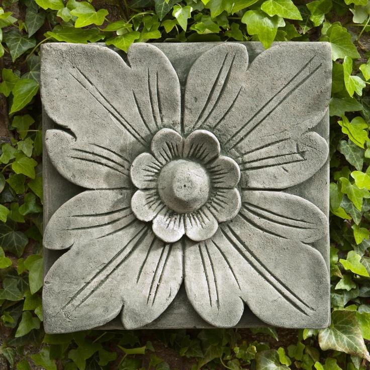 Campania International Square Flower Cast Stone Outdoor Wall Art Plaque
