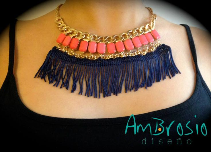 Salmon Beads and Blue Fringe Necklace Modified Piece $20.00