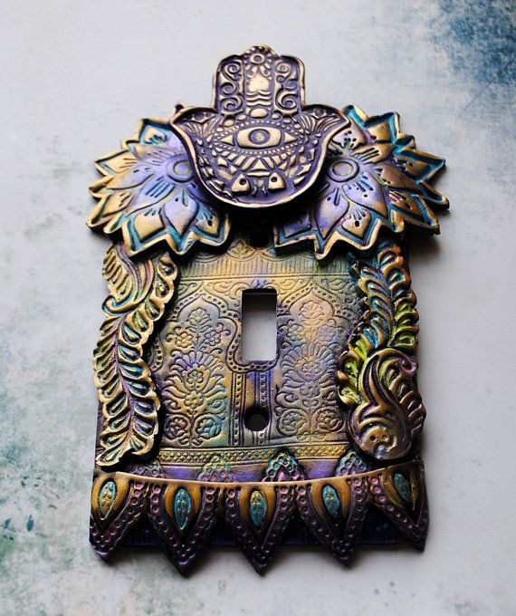 Purple Hamsa light switch cover switch plate by TMBakerDesigns