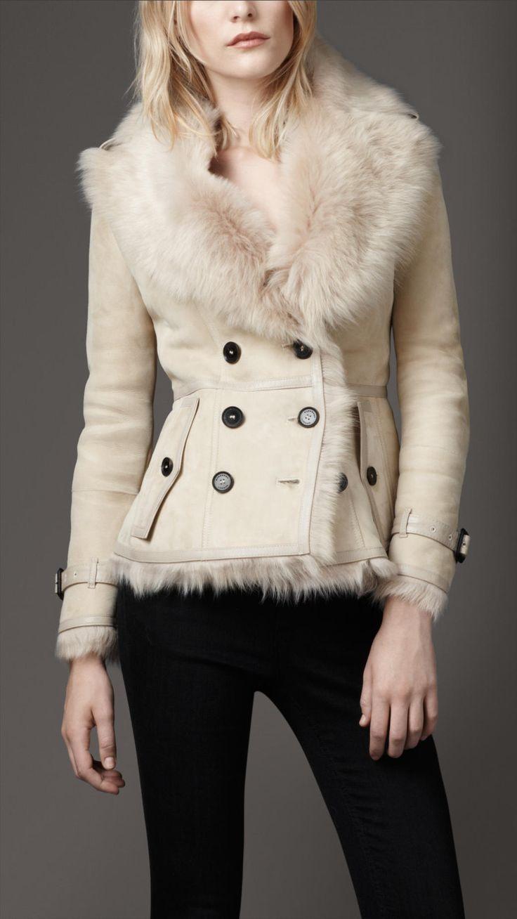 Veste en shearling avec bordure en cuir   Burberry