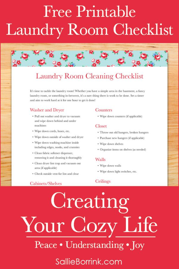 Free Printable Laundry Room Cleaning Checklist