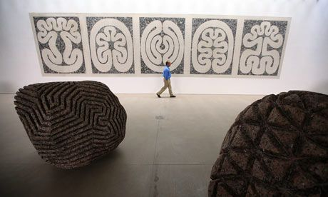 """Exquisite cosmic geometry ... Peter Randall-Page's rock forms at the Yorkshire Sculpture Park. """"Peter searches inside the stones for the concealed geometric patterns that structure the universe, at the level of the cell to the reaches of the galaxies"""""""