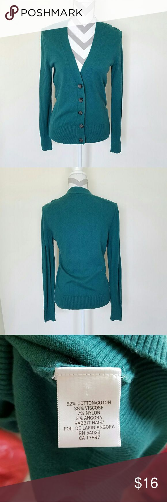 Banana Republic Teal Cardigan! Teal cardigan with buttons down the front. Soft stretchy material. Length is about 25 inches and armpit to armpit is about 19 inches. Great condition! Banana Republic Sweaters Cardigans