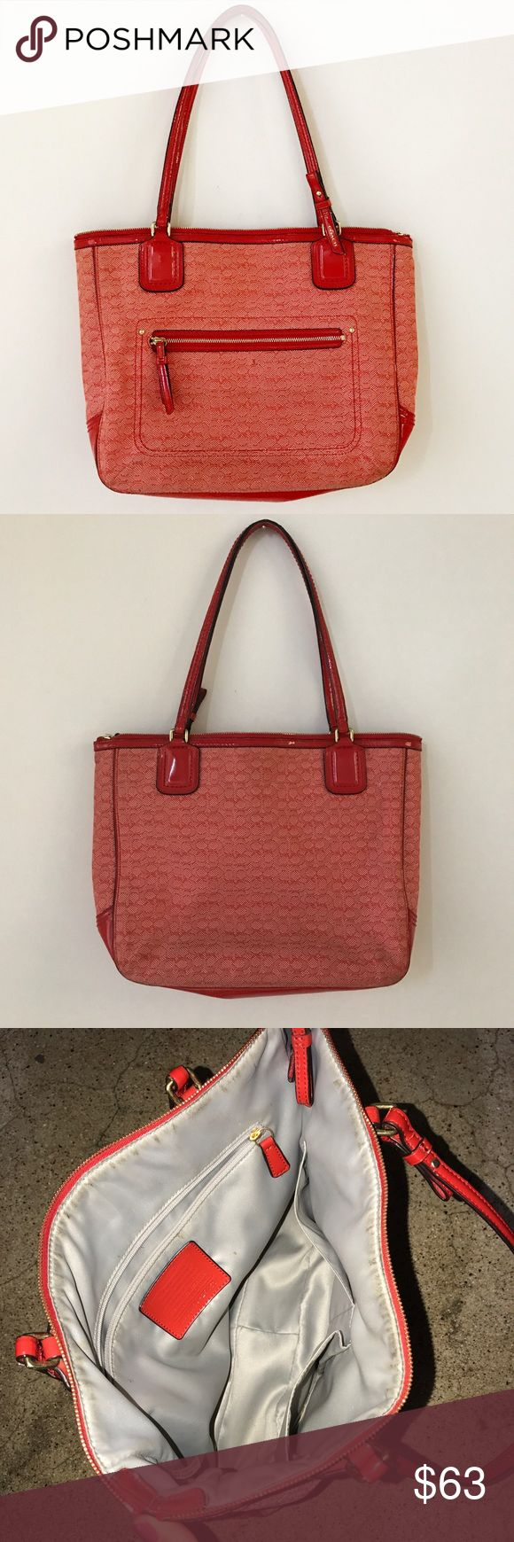 Red Authentic Coach purse Authentic red COACH purse. In very good condition- used once or twice. Small dot on front of bag-barely visible. Inside of bag very clean Coach Bags