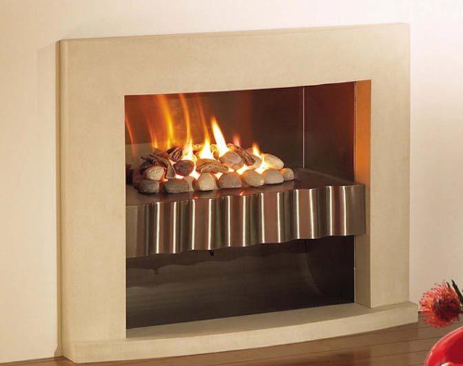 Simple fireplace, limestone surround, stainless steel shelf - Platonic Shelf Fire