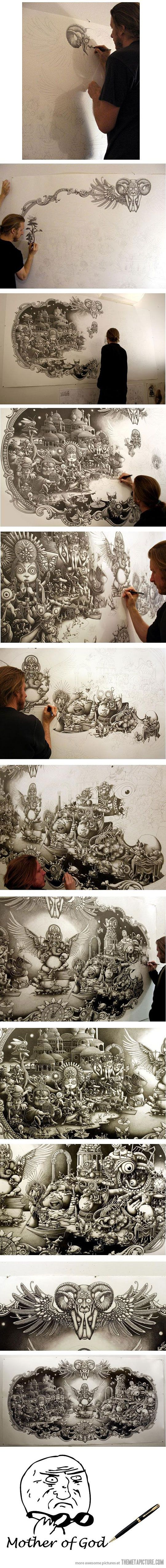 Awesome pen drawing - The Meta Picture would like to know who the artist is...comment if you know!!