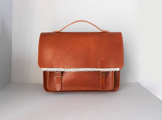 Handmade & Durable Leather Satchel Bag in Tobacco by ecreation, €75.00