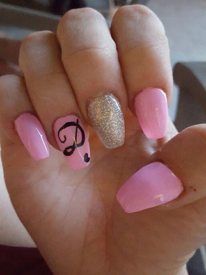 Initials Long J Acrylic Nails