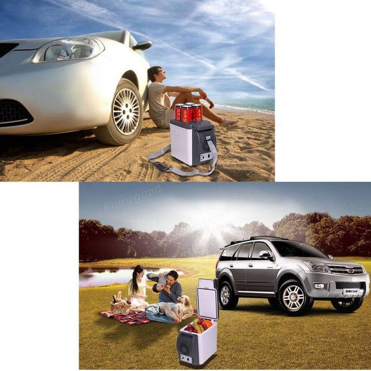 6L 12V Car Small Refrigerator Mini Fridge Cooler/Warmer Black w/ DC Adapter