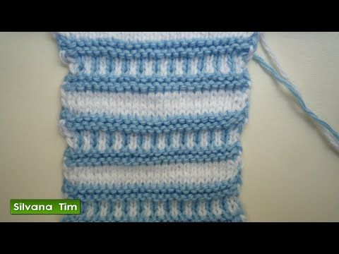 Punto (puntada) ABANICO de 2 colores. Tejido con dos agujas # 183 - YouTube