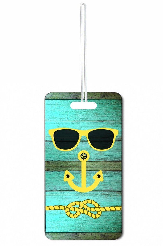 Hipster Beach Face Blue Wood Rosie Parker Inc. Set of 8 Luggage Tags with Personalized Back