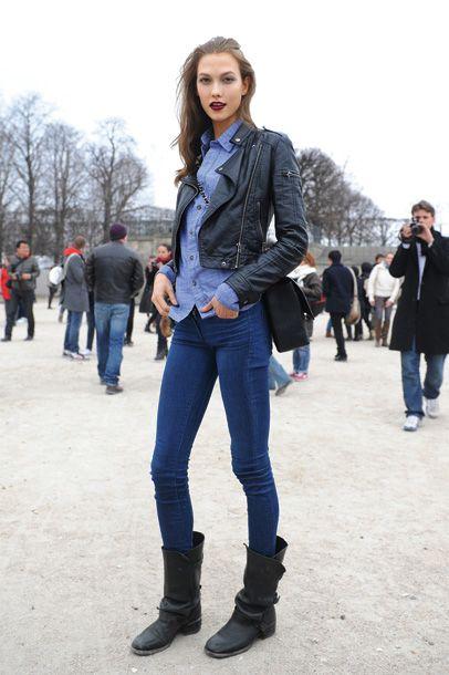 Denim: Models Off Duty, Karliekloss, Paris Fashion, Fashion Week, Street Style, Double Denim, Leather Jackets, Karlie Kloss, Carboxylic Block