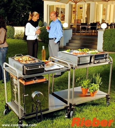 accessorize carts with modular mobile cooking features. Patented kitchen technology from Germany