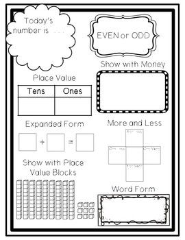 This free download contains a one-page number of the day worksheet. Students will write the two-digit number, identify it as odd or even, identify tens and ones, color place value blocks to show the number, write in expanded notation, tell one less one more ten less ten more, write in word form, and show as money. ******************************************************************************************************************* Please like me on Facebook...