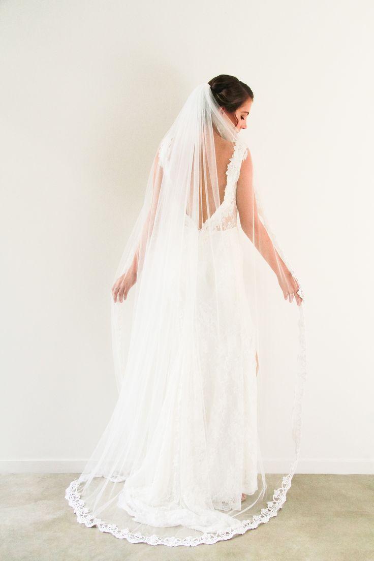 Pretty Lace Edge Bridal Veil www.whenfreddiemetlilly.com.au