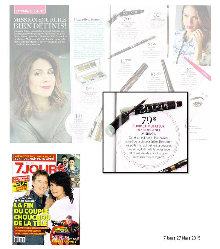 Le magazine 7 Jours (édition du 27 mars) dans la section Tendance Beauté, on présente, parmi d'autres produits pour les sourcils, l'Elixir de Misencil.   Les mots à l'endroit du soin sont très très bien! Lectorat: 573,000
