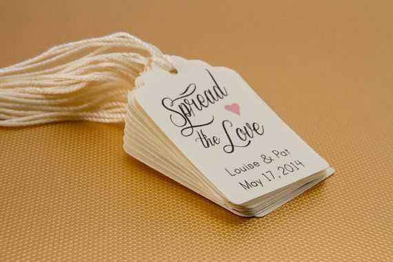 25- Spread The Love Favor tag, Wedding Thank you Tag, Customizable Thanks Tag, Cottage Rustic Chic Thank you Tag, Shower Tag, Favor Label on Etsy, $13.00