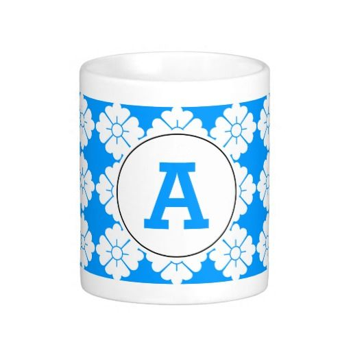 Personalized monogram mugs. Change the text to any font and color you wish. You can also substitute it with your full name. The design (in white) is tileable (you can scale it up or down to customize it). The background (in blue in the preview) can be changed to any color you like. If you only like the pattern, you can remove the frame and text.