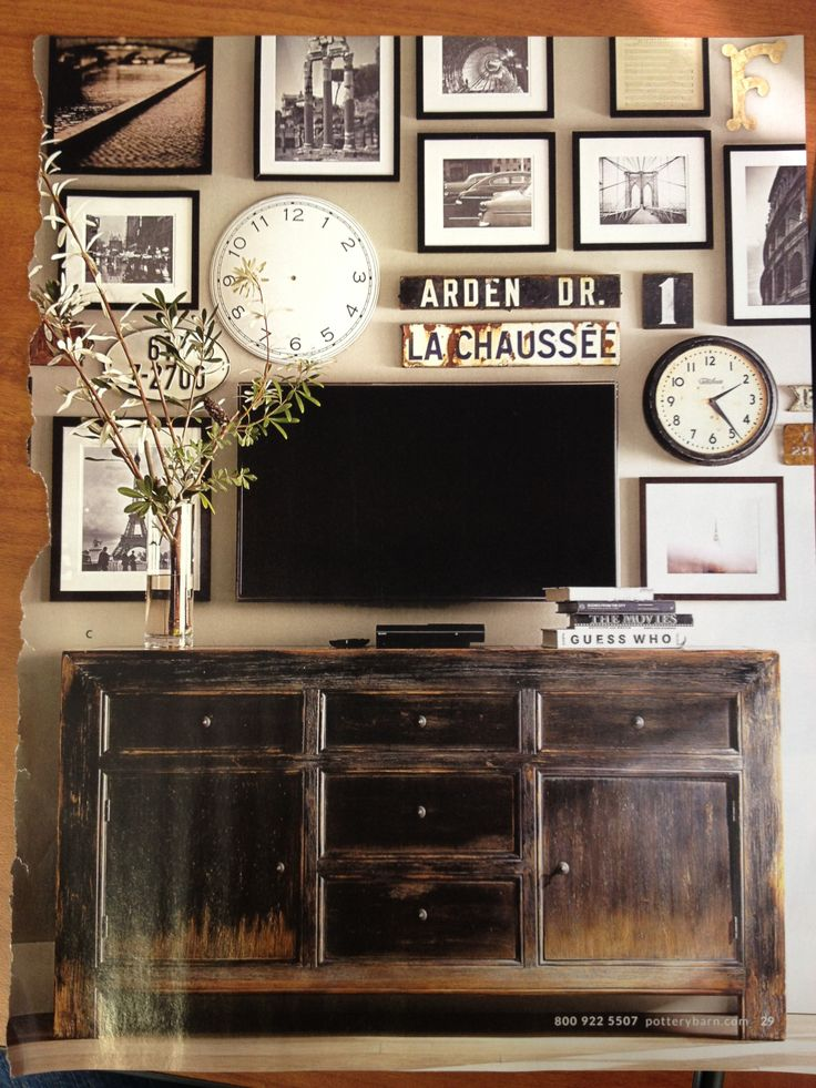 Dawson Media Console By Pottery Barn. Another Pinner Says What Television?  A Clever Eclectic Wall Grid Idea. Dawson Media Console By Pottery Barn.