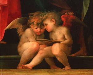 Two cherubs reading - Rosso Fiorentino