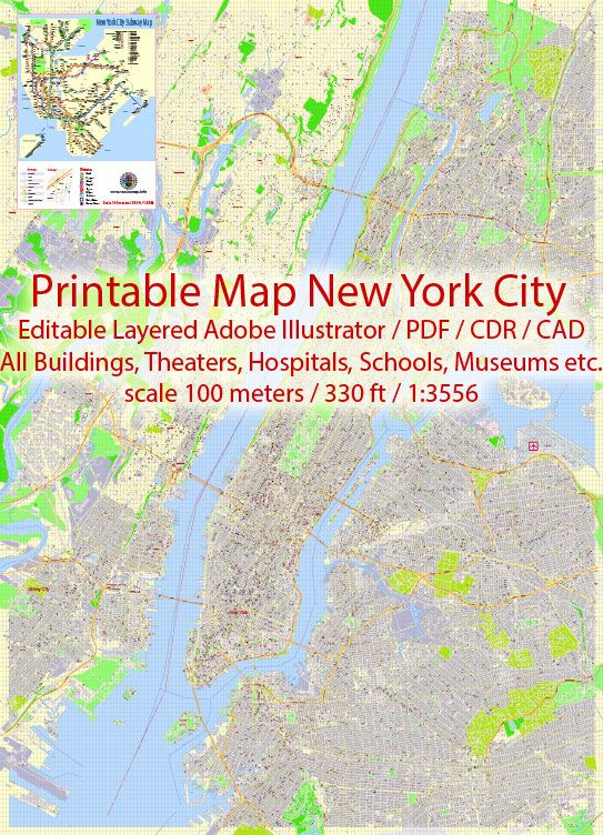 Map New York City Vector Urban Plan Adobe Illustrator Editable