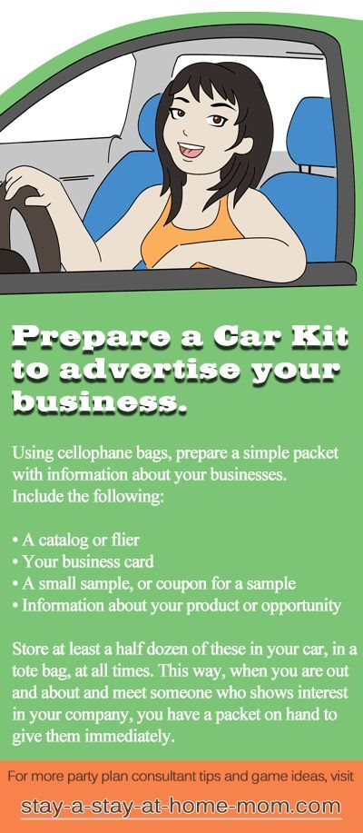 http://www.stay-a-stay-at-home-mom.com/direct-sales-tip.html Create car kits with your opportunity and catalog to give to prospects as you are out running errands.