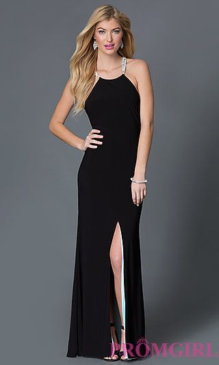 Betsy and Adam Black Floor Length Open Back Dress at PromGirl.com