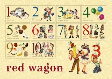 Vintage Number Flash Cards With Canvas Drawstring Bag