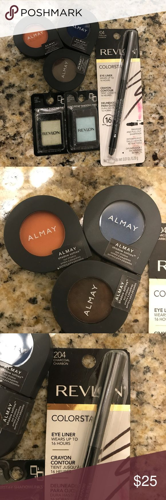 Revlon/Almay eye bundle Revlon/Almay eye bundle. All new, never opened or swatched. Almay shadows are peach fuzz, midnight sky, and hot fudge. All other shades visible on packages. Almay Makeup Eyeshadow