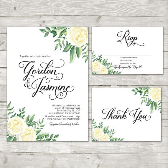 Flower Wedding Invitation  Summer Flower Invite by LMNDesignStudio