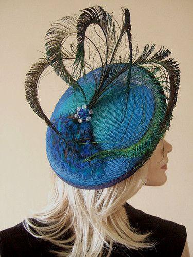 Jade Graduated Royal Blue Peacock Fan Saucer Fascinator Ascot Hat MN147 | eBay