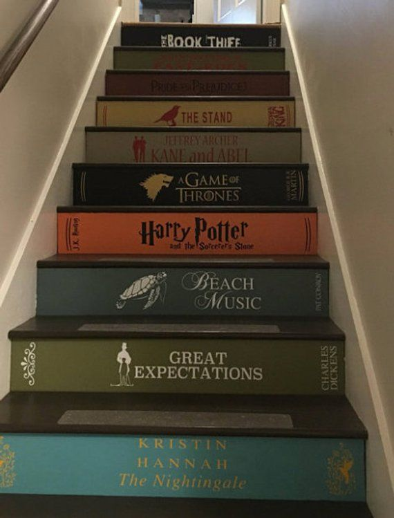 Stair Riser Decals Stair Case Stickers Classic Books Famous Literature Book Spine Decal For Stairs Standard Width In 2020 Stairs Painted Like Books Book Stairs Painted Stairs