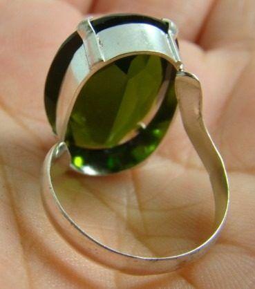 frete grátis belo anel de prata 950 turmalina verde 4.0 gr
