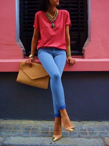 : Colors Trends, Baby Blue, Coral Jeans, Colors Combos, Fashion Chic, Blue Jeans, New Fashion, T Shirts, Lace Dresses