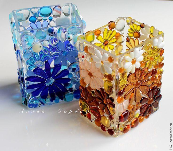 Купить ваза из стекла, фьюзинг Зимние цветы - синий, стекло, Фьюзинг, голубой, ваза