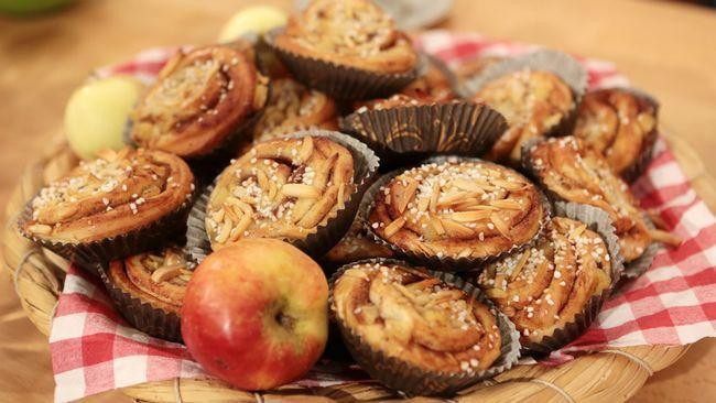 Kanelsnäckor med äpple.