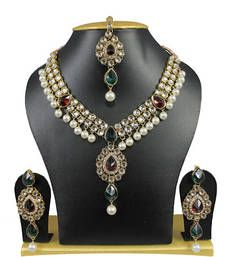 Buy Multicolor Kundan Color Gold Plated Strand Necklace With Earings And Maang Tikka For Women necklace-set online