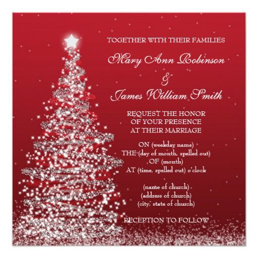 277 best christmas wedding invitations images on pinterest elegant christmas wedding red silver card stopboris Images