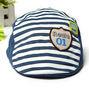 Baby Kids Baseball Cap Summer Hat Beret Cotton Stripe Beret Punk Cap - US$4.51