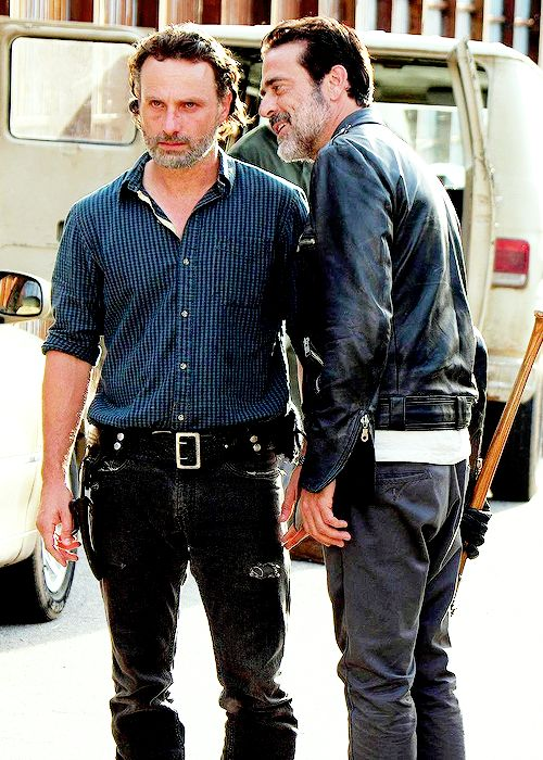 Look at Rick's face. It's taking everything in him not to bite Negan's neck like a turkey leg.