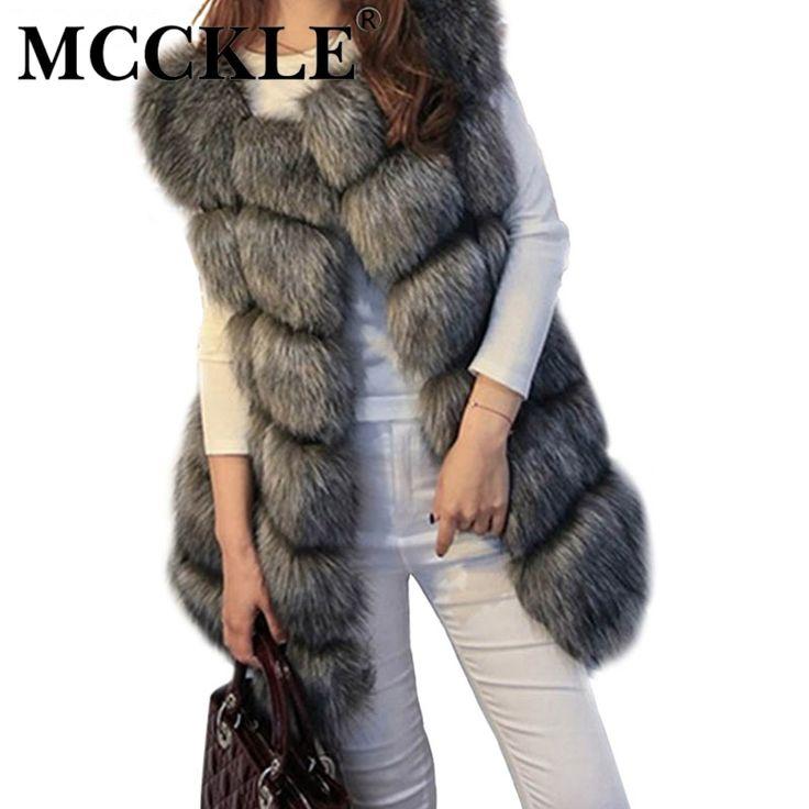 MCCKLE coat women faux fox fur vest brand shitsuke fuorrure femme fur vests fashion luxury peel women's jacket gilet veste