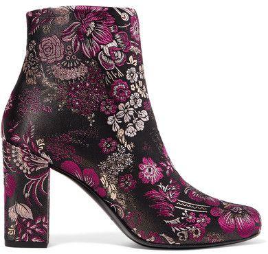 Saint Laurent Babies Brocade Purple Ankle Boots