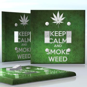 DIY Do It Yourself Home Decor - Easy to apply wall plate wraps | KEEP CALM AND SMOKE WEED  Green weed background with a white leaf  wallplate skin sticker for 2 Gang Toggle LightSwitch | On SALE now only $4.95